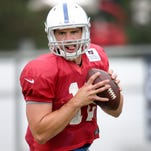 Indianapolis Colts TE Coby Fleener during the second day of Training Camp Friday July 25, 2014 at Anderson University.