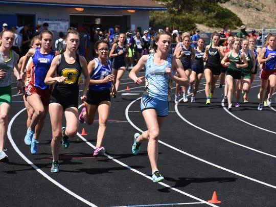 Erika Robtoy runs in the 800 Saturday at McQueen