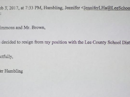 Former Estero High School art teacher Jennifer Hambling emails her letter of resignation on February 3, 2017, a few hours after being informed of allegations of inappropriate physical contact with a student.