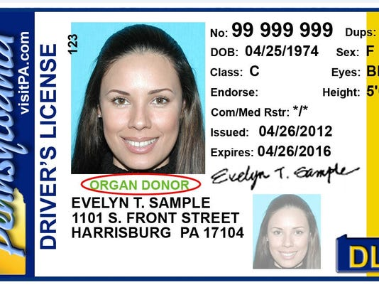 A sample driver's license. Some have had their licenses suspended belatedly.