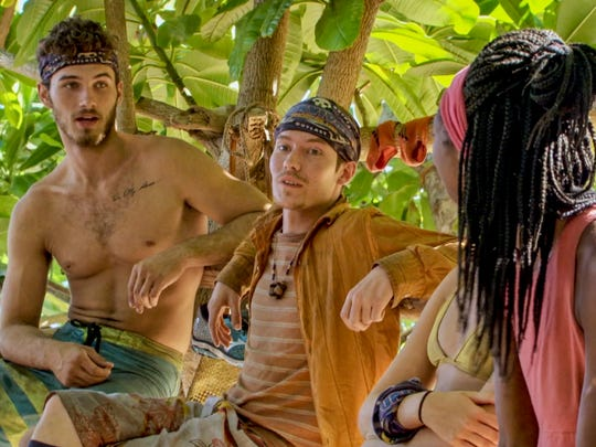 "Michael Yerger, Donathan Hurley and Laurel Johnson on ""Survivor: Ghost Island."""