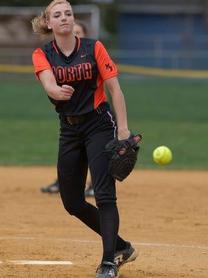 Middletown North pitcher Kiley Kernan during game. Middletown North Girls Softball vs Freehold Boro in Freehold, NJ on April 1, 2016