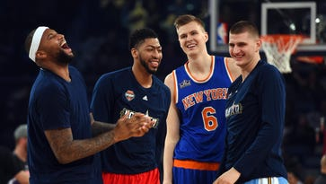 New York Knicks forward Kristaps Porzingis (6) reacts after winning the skills challenge during NBA All-Star Saturday Night at Smoothie King Center. Mandatory Credit: Bob Donnan-USA TODAY Sports