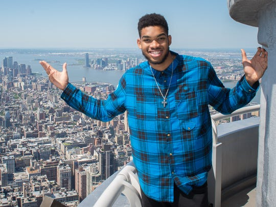 Potential NBA No. 1 draft pick Karl-Anthony Towns visits