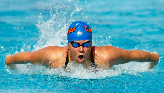 Elizabeth Beisel swims in the Women's 400 Meter IM Prelims at the Arena Grand Prix on Friday, April 25, 2014 at Skyline Aquatic Center in Mesa.