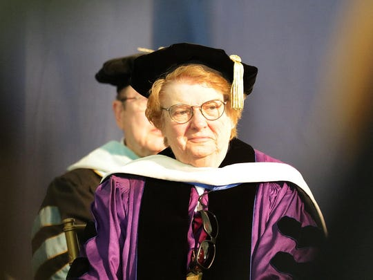 Past president Sister Francis Raftery smiles at the graduating class at The College of Saint Elizabeth, Saturday, May 14, 2016.