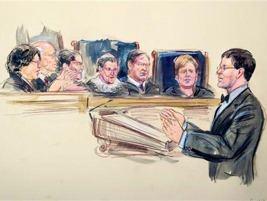 John Bursch, Sonia Sotomayor, Stephen Breyer, Antonin Scalia,, Ruth Bader Ginsburg, Samuel Alito Jr. and Elena Kagan