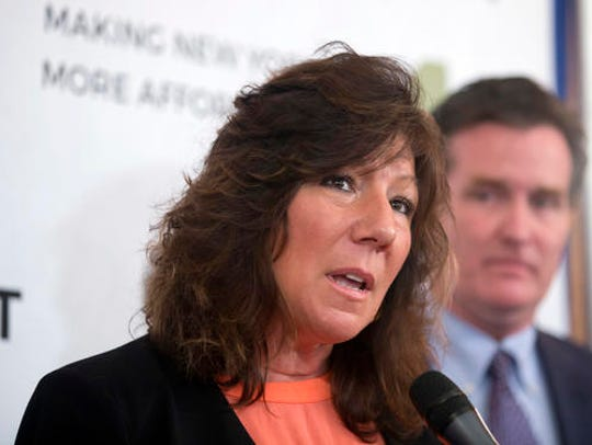 Sen. Susan Serino, R-Hyde Park, speaks during a news