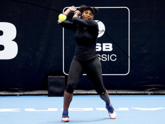 United States' Serena Williams hits a ball during a
