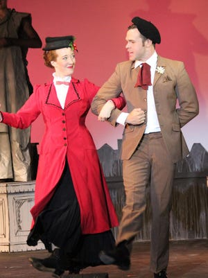 """Hannah Eakin, left, and Jamey Grisham star in the magical """"Mary Poppins"""" at the Barn Theatre."""