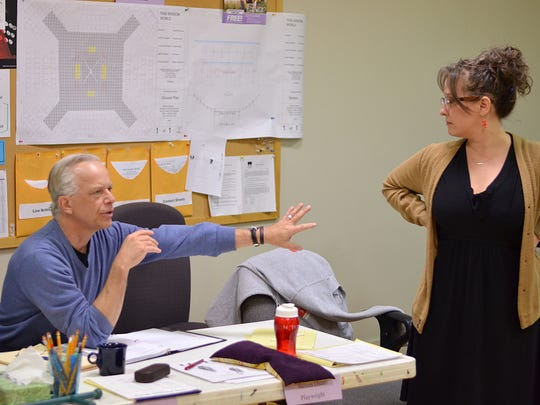 "Playwright Steven Dietz and director Meredith McDonough in rehearsal for ""This Random World,"" part of the 2016 Humana Festival of New American Plays at Actors Theatre of Louisville."