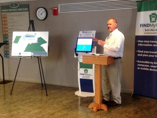 Toby Fauver, deputy secretary for PennDOT, talks about the expansion of FindMyRidePA, a web-based public transportation program that was expanded by PennDOT to six more counties. Officials held an event at the York County Human Services building in York on Wednesday to announce the program's expansion.