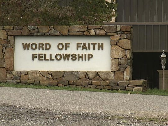 The entrance to the Word of Faith Fellowship church in Spindale.