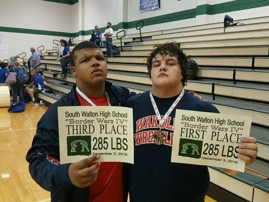 Wakulla teammates Darius Wilkins, left, and Jacob Marin are two of the best heavyweight wrestlers in the state. But only Marin, who beat Wilkins in a recent wrestle-off, will get to compete in the postseason. Marin subsquently won a state title and became the All-Big Bend Wrestler of the Year.