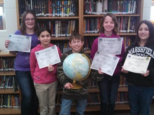 Madison School's Geography Bee team competed in the City-Wide Geography Bee Jan. 8 at Lincoln School. Pictured are the team members: Mackenzie Schilling, from left, Alana Garrity, Mason Mess, Madeline Olson and Abigail Retzlaff.