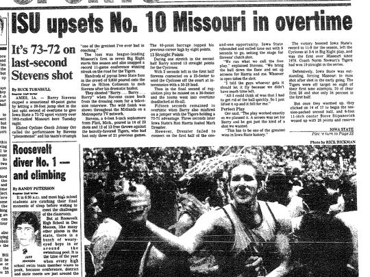 A Des Moines Register headline from Feb. 9, 1983, when Iowa State upset heavily favored Missouri.