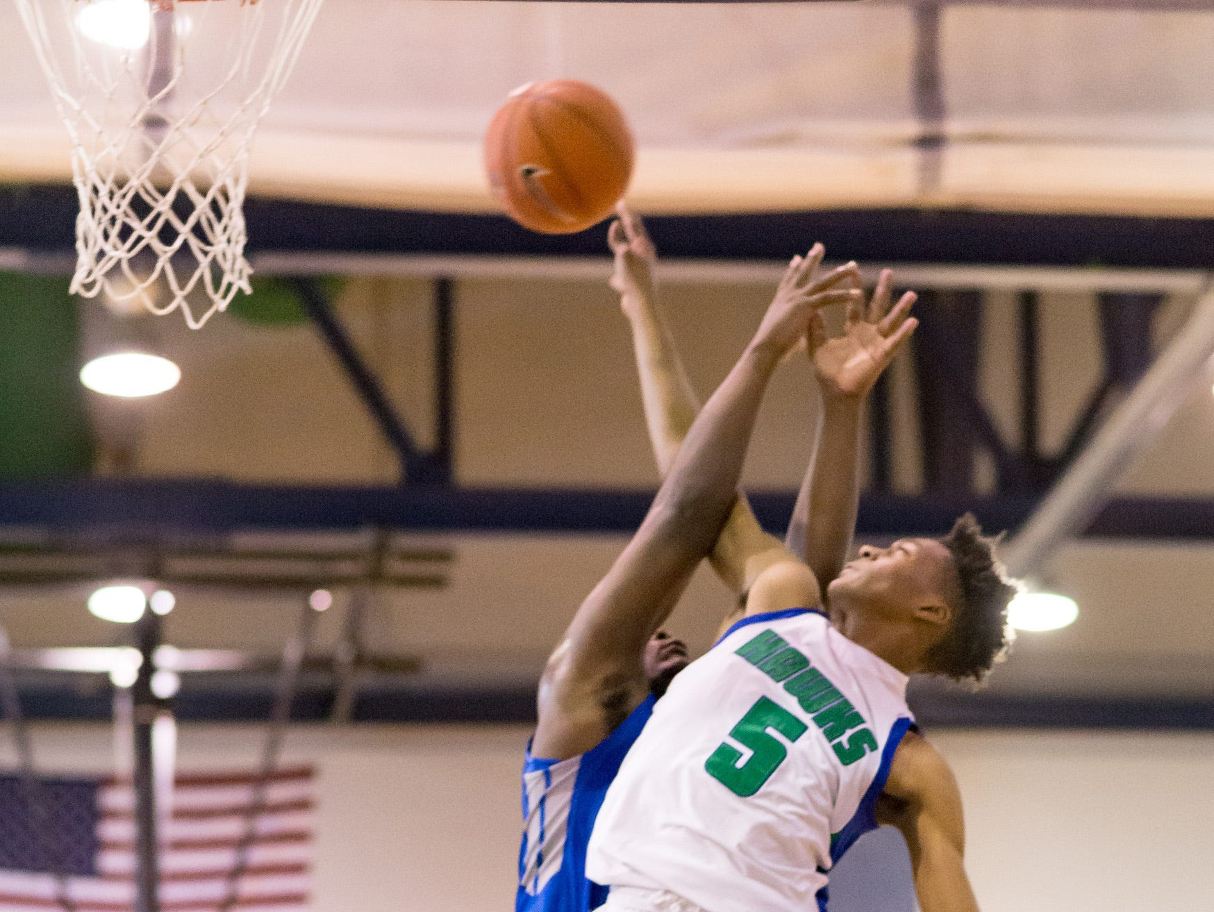 Nah'Shon Hyland of St. Georges, seen here against Woodbridge, scored 25 points as the Hawks defeated Hodgson 52-48 on Tuesday.