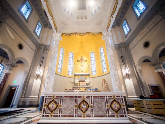 The white marble top of the altar at the new Cathedral