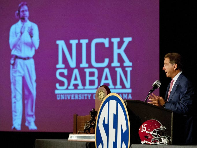 Alabama coach Nick Saban fields questions on Day 4 of SEC Media Days at the Wynfrey Hotel in Hoover, Ala.