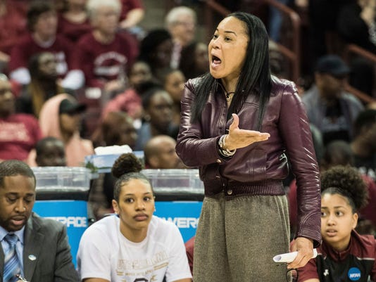 South Carolina coach Dawn Staley talks to an official during a second-round game against Arizona State in the NCAA women's college basketball tournament Sunday, March 19, 2017, in Columbia, S.C. South Carolina defeated Arizona State 71-68. (AP Photo/Sean Rayford)