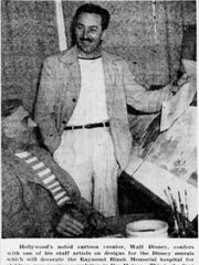 Walt Disney consulted with his animators on the original murals at Blank Children's Hospital, according to this photo from the Sept. 3, 1944, edition of The Des Moines Sunday Register.