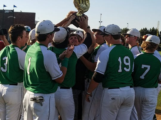 Iowa Park celebrates its three-game series win over Bushland in the Region I-4A regional semifinals.