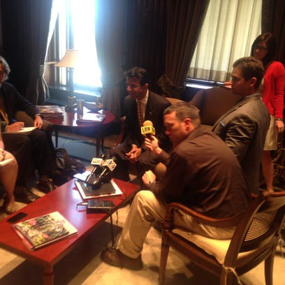 Gov. Bobby Jindal meets with the press May 28 at the
