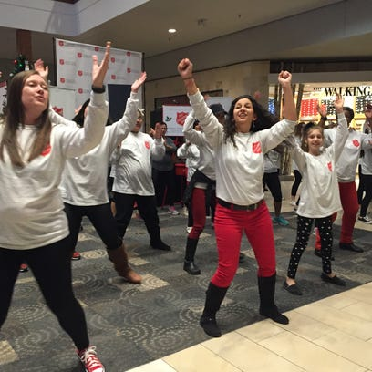 A flash mob at Haywood Mall  helped kick-off the launch