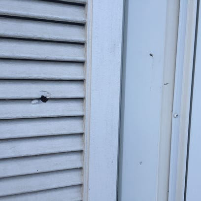 A bullet hole in a northeast Des Moines home, a result
