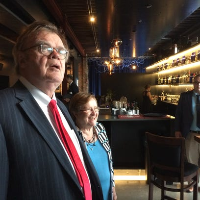 Garrison Keillor appears with Democratic Senate candidate