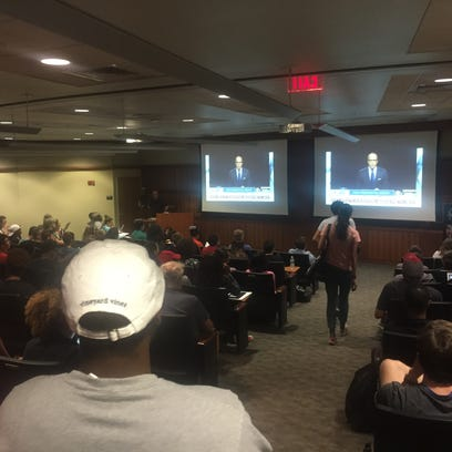 Students packed U of L's Chao Auditorium on Monday
