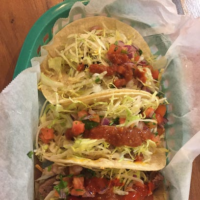 Three tacos -- two chicken, one beef -- from Mexitaly