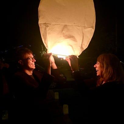 Karina Bland and her son Sawyer sent a paper sky lantern
