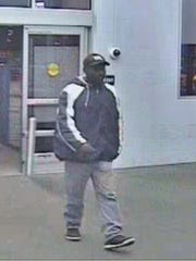 The male suspect in a theft from Walmart Sunday night.