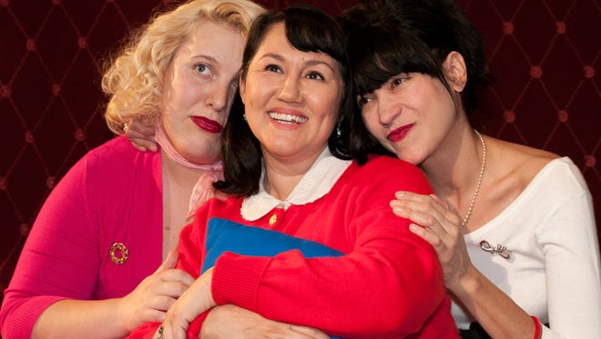 """(L to R): Libby Mueller, Dilcia Yanez and Marcella Grassa in a scene from Space 55's world-premiere musical """"Blue Galaxy."""""""