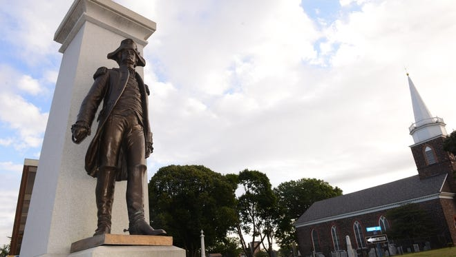 General Enoch Poor statue in front of the Bergen county Court House on Court St. He is buried at the Reform Church graveyard.