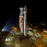 A United Launch Alliance Atlas V rocket before the Thursday, Oct. 8, 2015, launch of the National Reconnaissance Office's NROL-55 mission from Vandenberg Air Force Base's Space Launch Complex-3 in California.