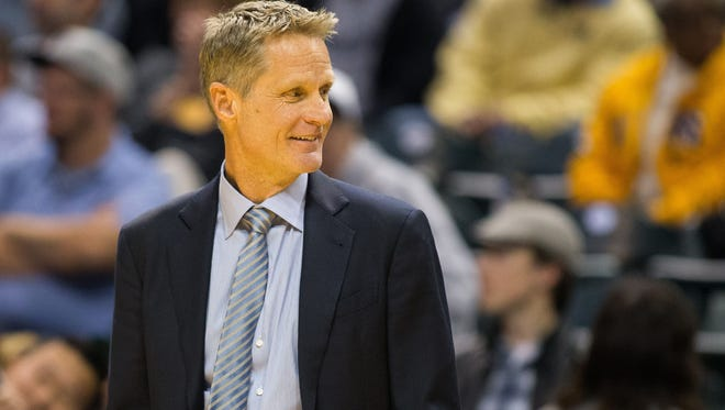 Golden State Warriors head coach Steve Kerr reacts on the sideline in the second half of the game against the Indiana Pacers at Bankers Life Fieldhouse. Golden State beat Indiana 120-83.