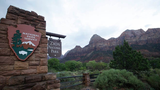 Zion National Park near Springdale, Utah. Officials at Zion National Park have scheduled a series of public meetings to discuss challenges facing the park as it continues to draw record numbers of visitors. The Spectrum newspaper in St. George reports that National Park Service figures show that nearly 1 million people had visited the park in southern Utah through the end of April.