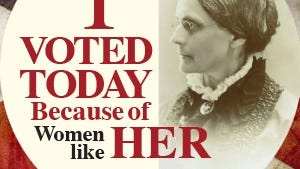 "Visitors who leave their ""I Voted Today"" sticker on poster board at Susan B. Anthony's grave can receive a commemorative sticker (while supplies last)."