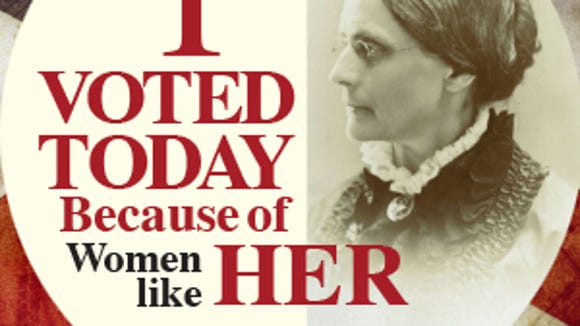 """Visitors who leave their """"I Voted Today"""" sticker on poster board at Susan B. Anthony's grave can receive a commemorative sticker (while supplies last)."""