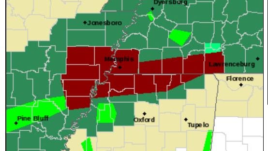 A screen shot from the National Weather Service web site shows the flood warning map.