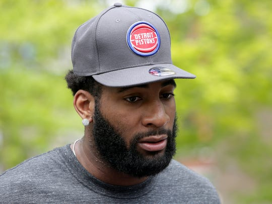 Pistons center Andre Drummond, speaks during the unveiling