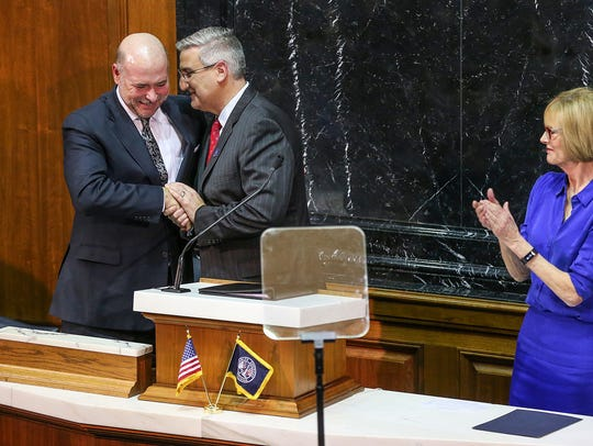 From left, Speaker of the Indiana House Brian Bosma