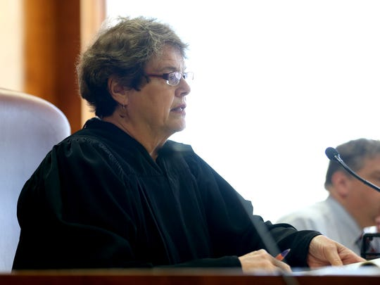 Judge Julie Frantz presides over a pre-trial hearing for Judge Vance Day at the Marion County Courthouse in Salem on Tuesday, March 6, 2018. Day was indicted on two felony gun violations and two counts of first-degree official misconduct in November 2016.