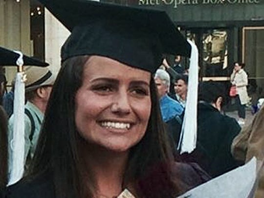 Sascha Pinczowski, shown here at her graduation from Marymount Manhattan College in New York, May 2015, has been identified as a victim of the bombings in Brussels.