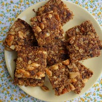Date, coconut and peanut granola bars give slow-release energy that will keep you going for hours.