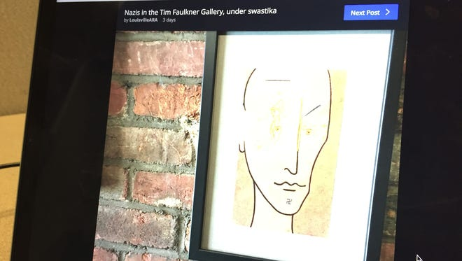 Swastikas shown on Kevin Casper's art exhibit in the Tim Faulkner Gallery, as shown on the Louisville ARA Facebook page