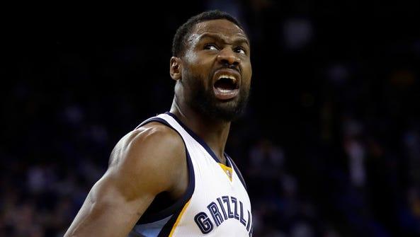 Memphis Grizzlies' Tony Allen reacts after scoring