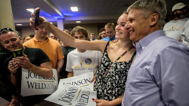 Libertarian candidate for president Gary Johnson greets supporters after speaking at the Sheraton Hotel in South Burlington Wednesday night.